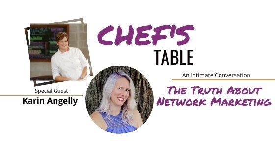 image of chef katrina and karin angelly talking about network marketing
