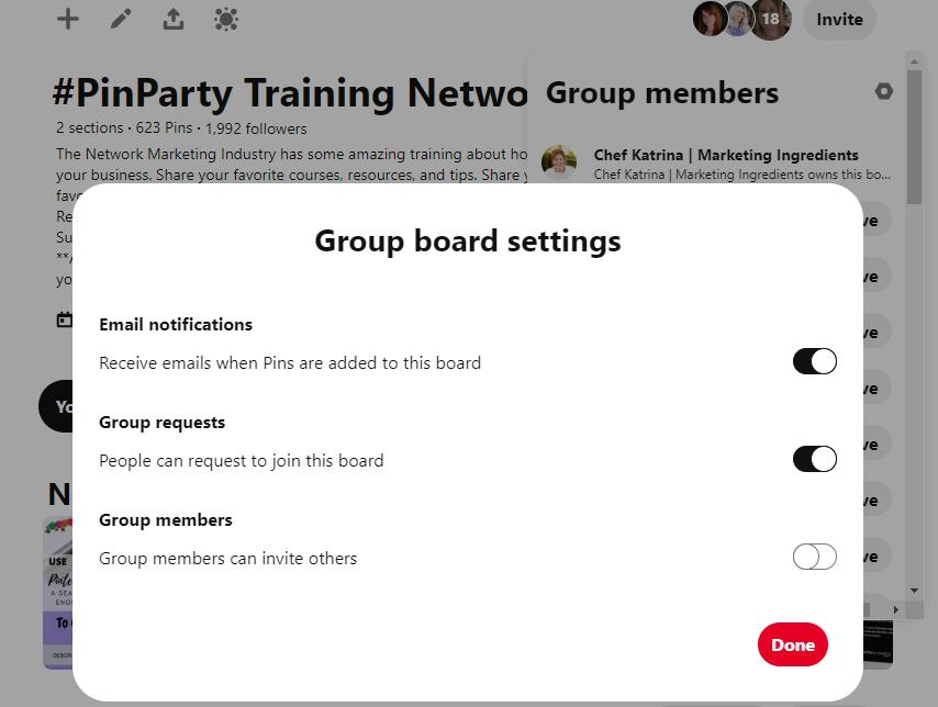 Pinterest Group Board Settings