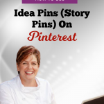 Chef Katrina wearing a white chef coat with the head link that reads, the power of story pins on Pinterest. Logo colors are purple and orange