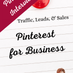Cork board with Pinterest for Business written on a lined piece of paper. This is an interview series so Chef Katrina shows some live actions of how businesses are using Pinterest to generate more profit.