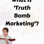 What is truth bomb marketing text with chef Katrina in a white chef coat holding a red fork pointing to the text.
